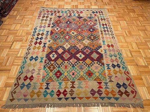 #245  Flat Weave Reversible Afghan Kilim Rug