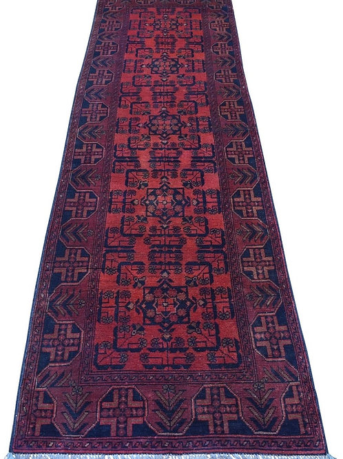 #508  Hand Knotted Afghan Runner