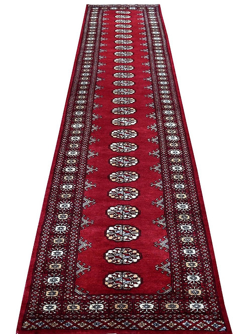 #552   Hand Knotted Elephant Foot Red Bokara Runner