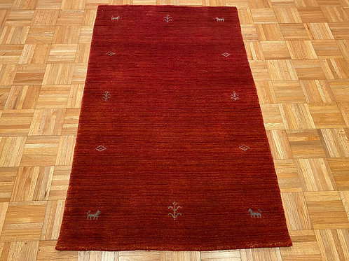 #231   Red Modern Gabbeh Area Rug, Wool Oriental Rug
