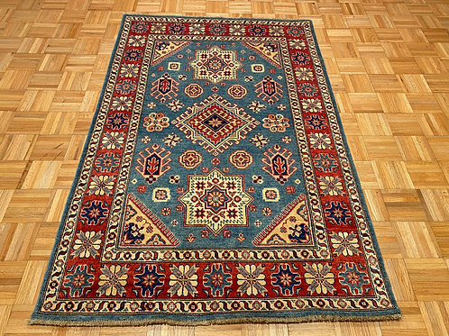 #221  Hand Knotted Geometric Blue Kazak Rug, Wool Area Rug