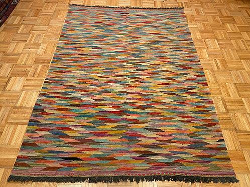 #248 Flat Weave Reversible Afghan Kilim Rug, Wool Oriental Rug
