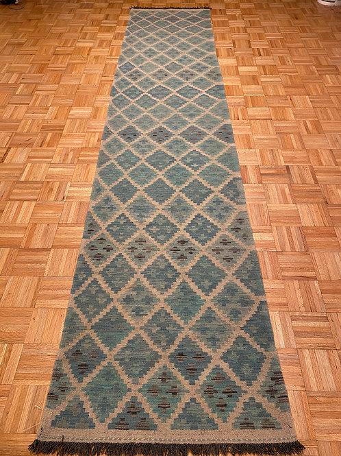 #233  Flat Weave Reversible Afghan Kilim Runner Rug, Wool Oriental Runner