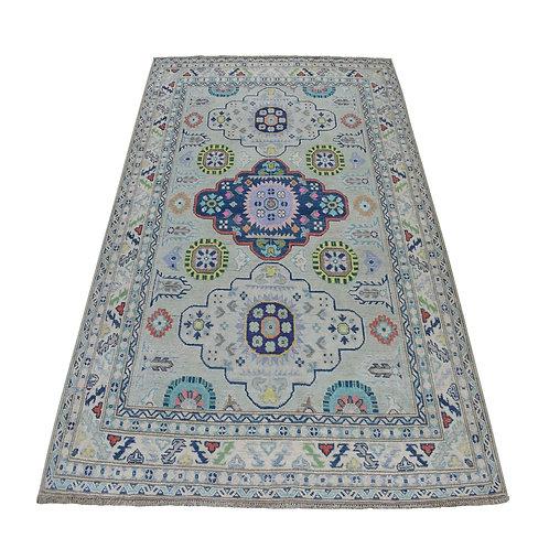 #559  Hand Knotted Grey Geometric Kazak Oriental Rug