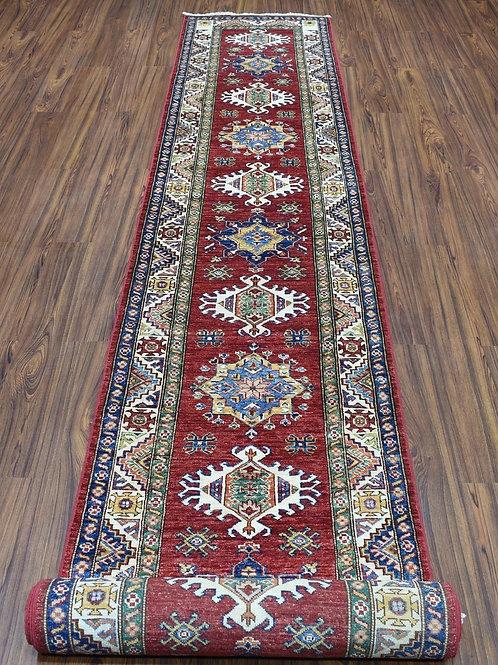 "#531   2'8"" x 19'2""  Ex-Long Oriental Kazak Runner Rug"