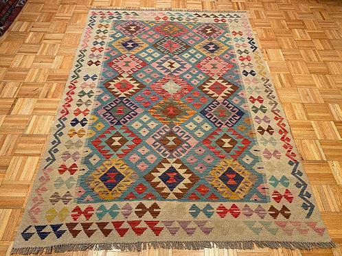 #253  Flat Weave Reversible Afghan Kilim Rug, Wool Oriental Rug