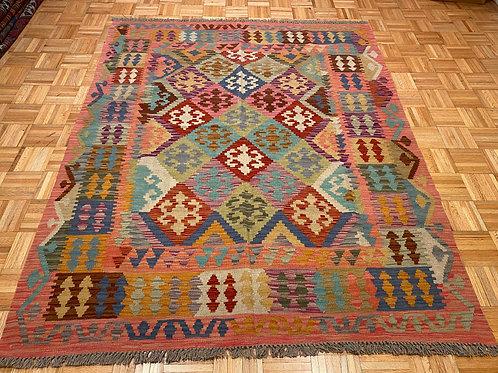#250 Flat Weave Reversible Afghan Kilim Rug, Wool Oriental Rug