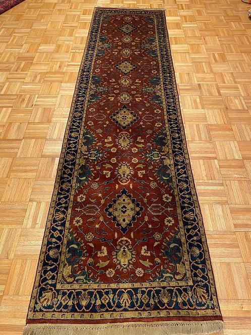 """K266  2'7"""" x 9'10""""  Hand Knotted Fine Wool Sarouk Design Oriental Runner"""