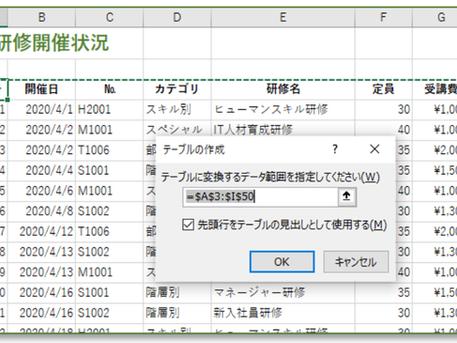 【テーブル】を使うとExcelデータはパワーアップする!