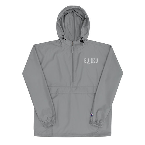 BU DOU White logo Embroidered Champion Packable Jacket