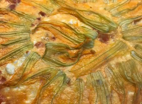 Tarte courgettes, fêta et fleurs de courgettes