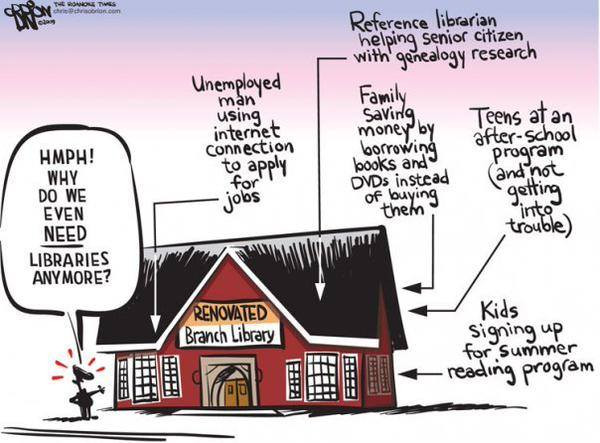 A cartoon about the role of a Library