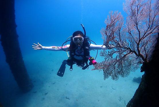 PADI Instructor sea fan diving Salang Jetty Tioman Island Malaysia