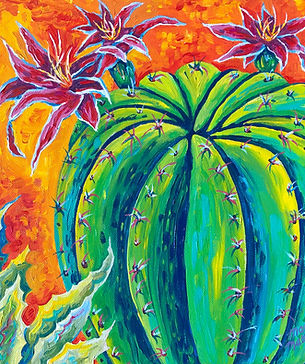 Giant Barrel Cactus #1. acrylic on canva