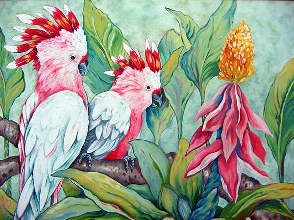 Mitchells Cockatoos.20x24.oils on canvas