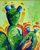 Prickly Pear Cactus #6.acrylics on canva