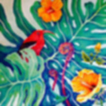 Hawaiian Honeysuckle Creeper.acrylics on