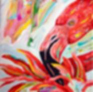 Festive Flamingo #1.8x8.acrylics on canv