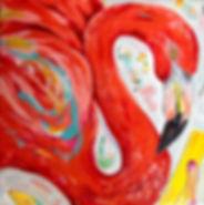 Festive Flamingo #2.8x8.acrylics on canv