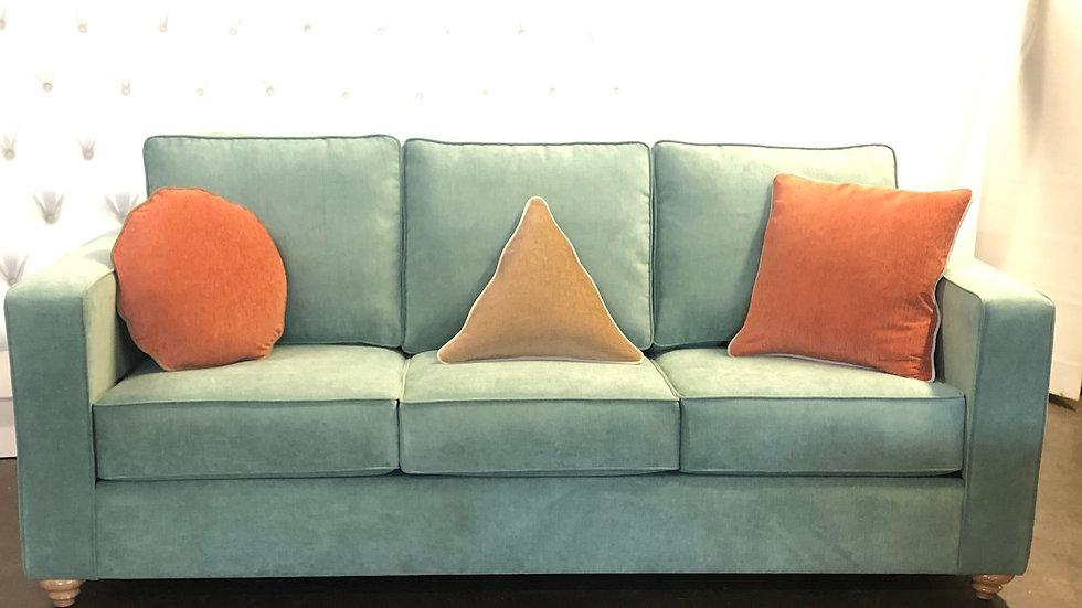 Joe custom sofa, custom pillows with contrast stitching