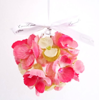 Pink and Green Sweet Pea Bauble - Small