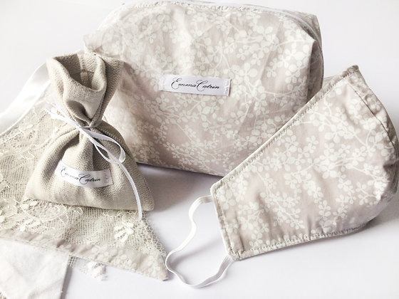 Grey and White Floral Makeup Bag