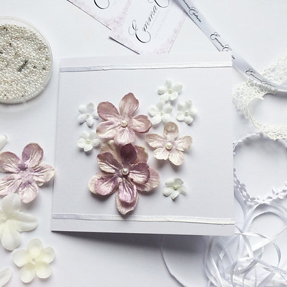 Mauve and White 3D Fabric Flower Card