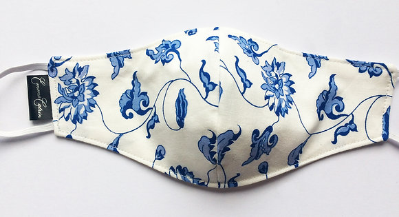 Blue and White Floral Print Face Mask