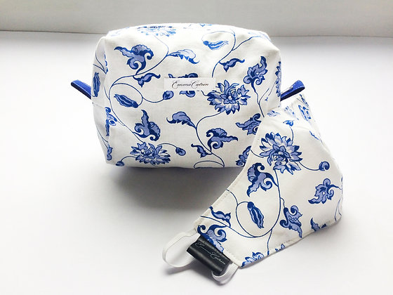 Blue and White Floral Makeup Bag