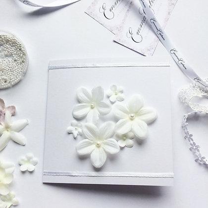 Ivory Fabric Flower 3D Card