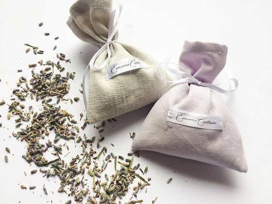 Grey and Lilac Linen Lavender Bags - Set of Two