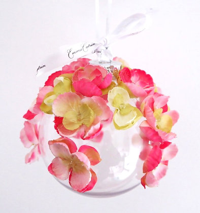 Pink and Green Sweet Pea Bauble - Large