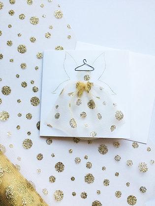 Gold Polka Dot Fairy 3D Dress Card