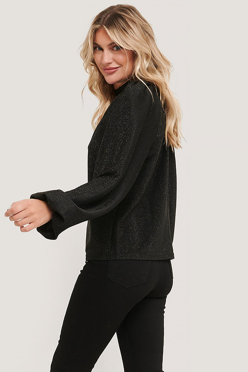 NA-KD GLITTER HIGH NECK SWEATER