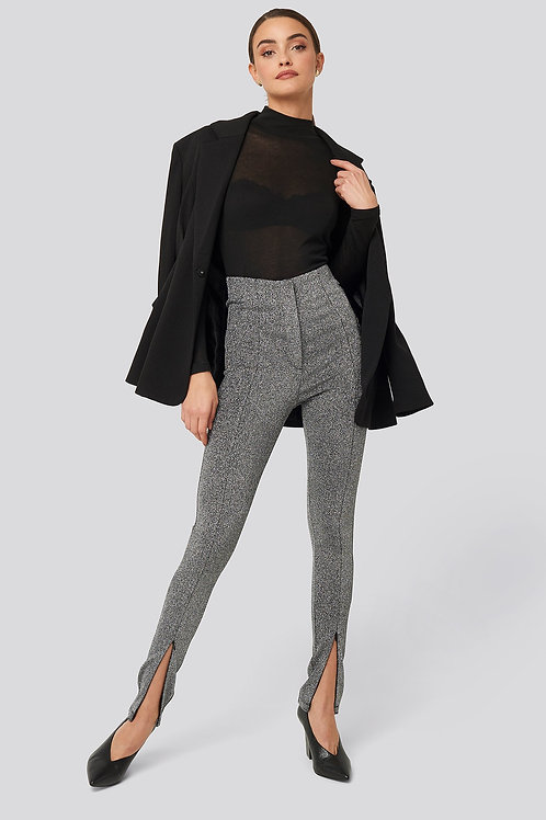 NA-KD FRONT SEAM HIGH WAIST LUREX LEGGING