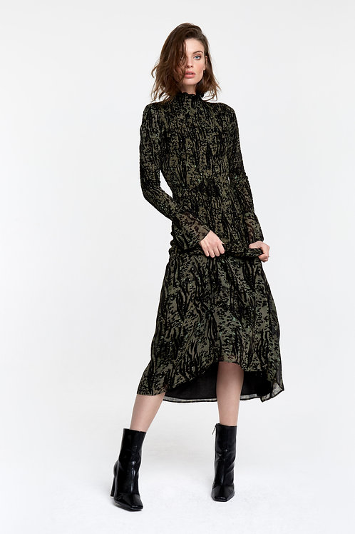 ALIX THE LABEL WOVEN ANIMAL SMOCKED DRESS