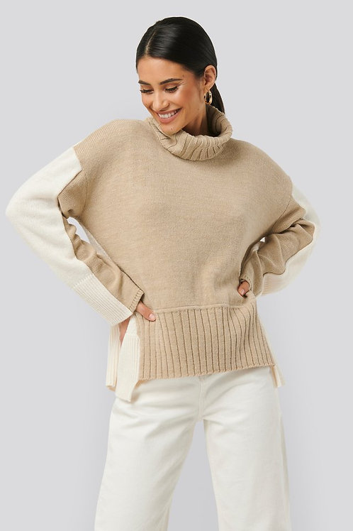 NA-KD WOOL BLEND OVERSIZED COLOUR BLOCK SWEATER