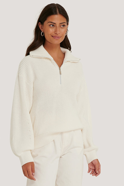NA-KD HALVE ZIP SWEATER