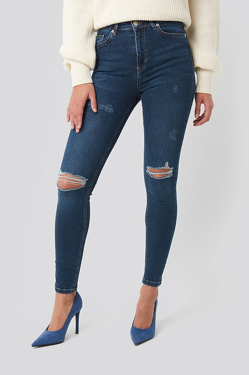 NA-KD SKINNY HIGH WAIST DESTROYED JEANS