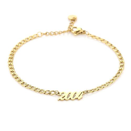 Jaartal armband goud