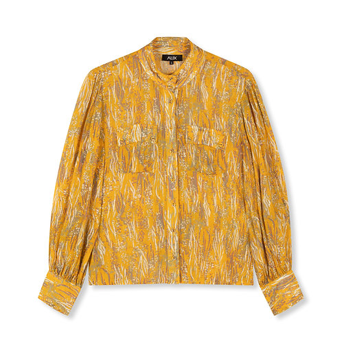 ALIX THE LABEL WOVEN ANIMAL LUREX BLOUSE