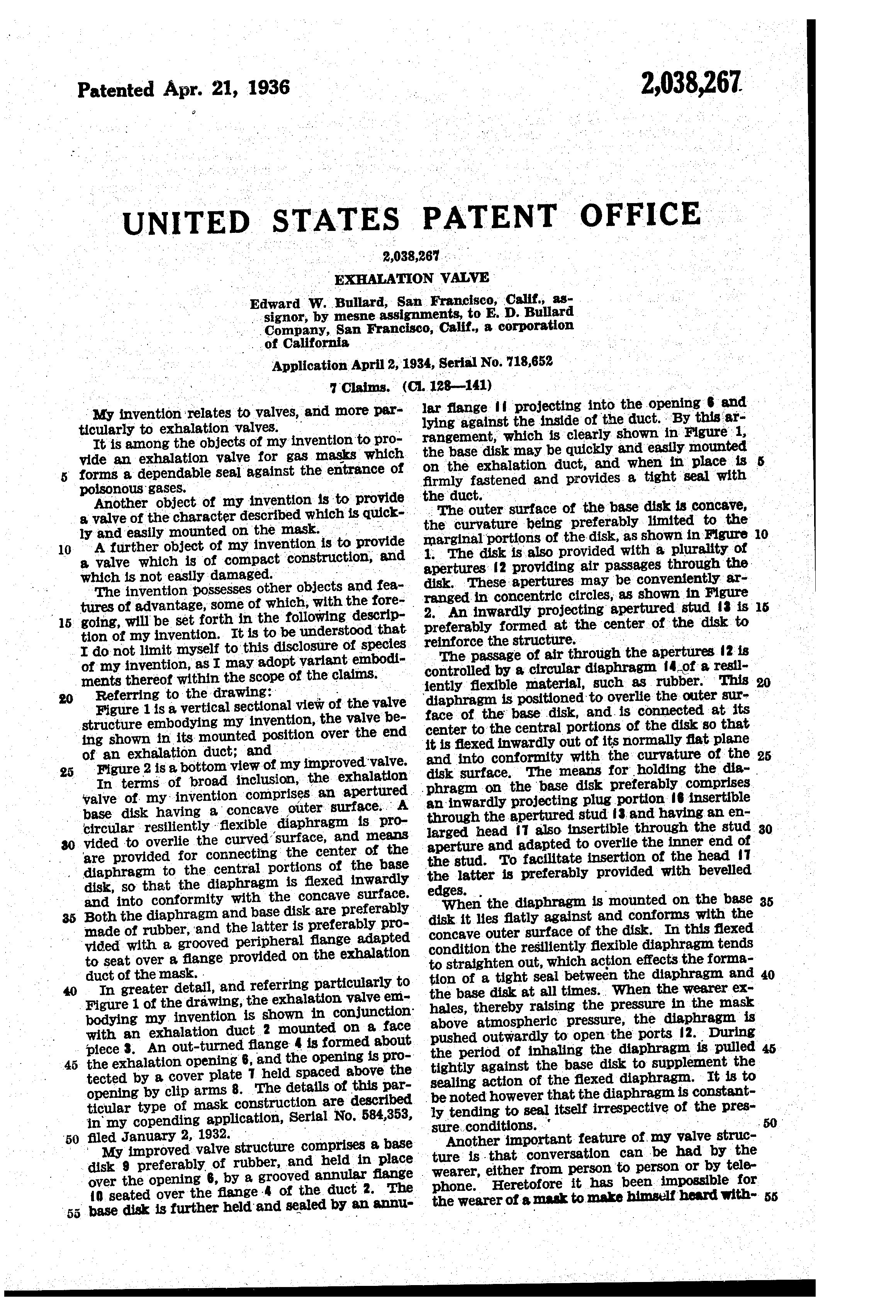 April 21, 1936 Patent