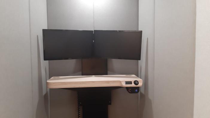 Dual Monitors on height-adjustable table