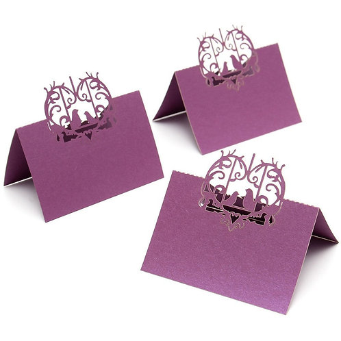 Purple Laser Cut Perfect Pair Love Birds Place Cards - Starting at $11.99