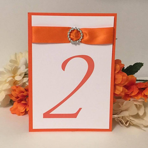 Orange With White Ribbons Table Numbers