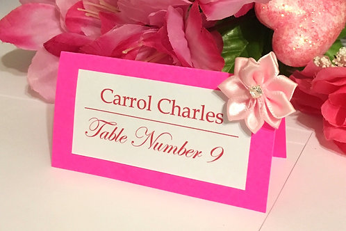 Bright Pink Place Cards with Light Pink Flowers