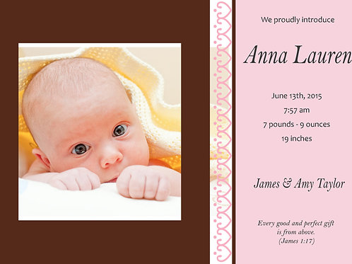 Birth Announcement Style 9 (Includes Envelopes) - As low as $0.99 each