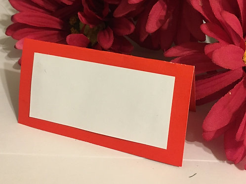 Red-Orange & White Place Cards - Blank or Personalized