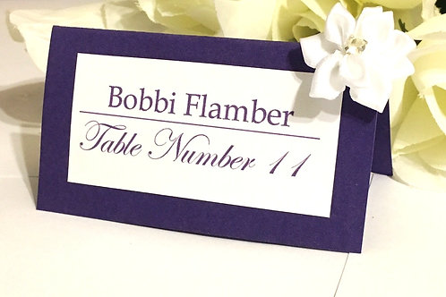 Purple and White Place Cards with White Satin Flowers