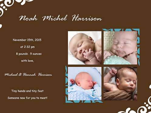 Birth Announcement Style 12 (Includes Envelopes) - As low as $0.99 each